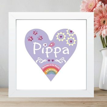 Personalised New Baby 'Welcome to the World' Heart Print - New Baby Gift, Framed Print, Baby Girl Gift, Rainbow, Christening, Baptism Gift